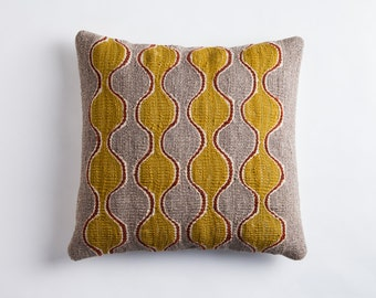 Gray Kilim Pillow - Handwoven Wool Sham Brooklyn Designed Turkish Made