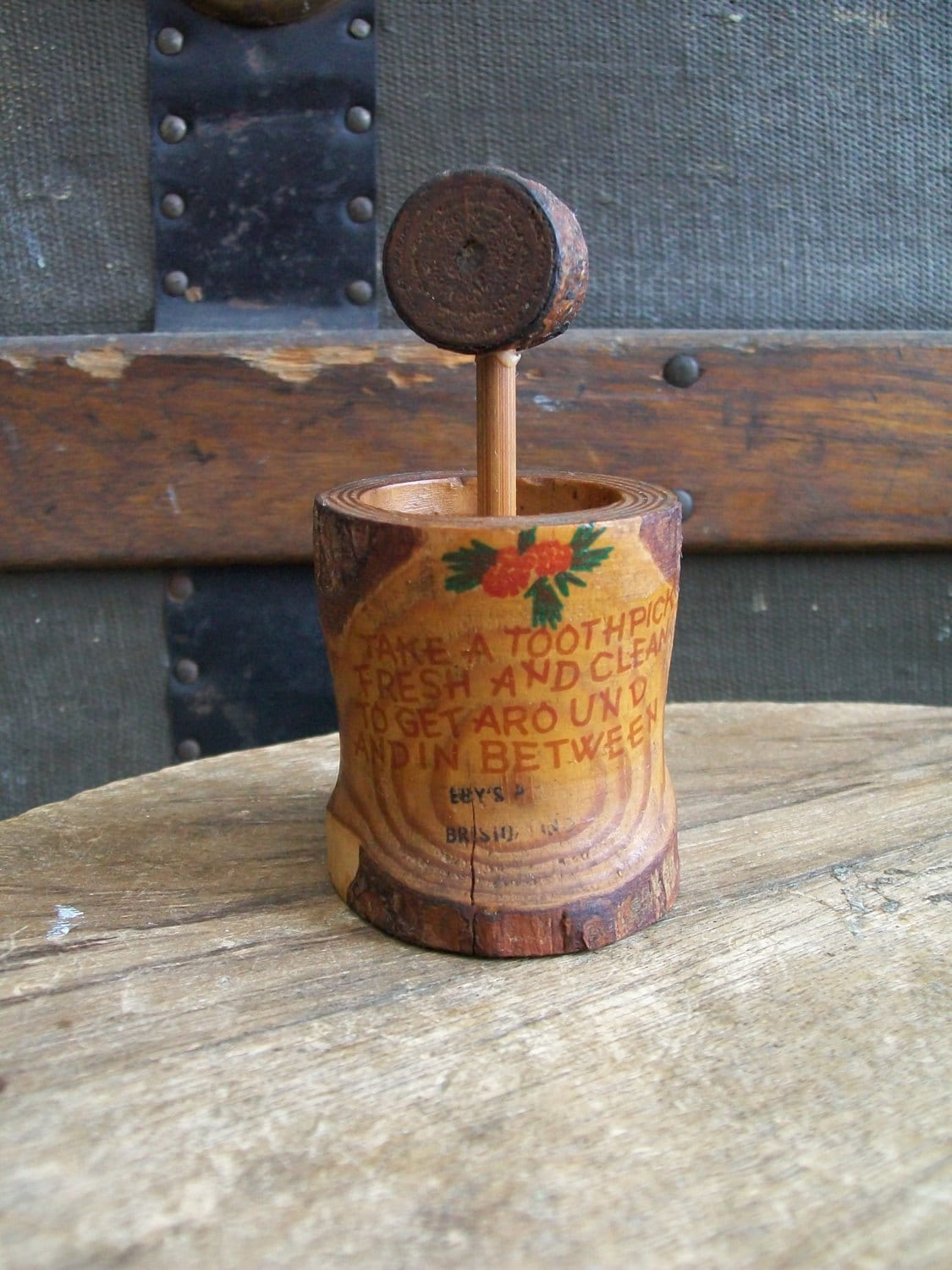 Vintage wood whimsical toothpick holder by lucysluckydeals - Wooden pocket toothpick holder ...