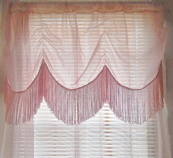 Fringe curtain sheer pink curtain boho curtain bohemian curtain teen