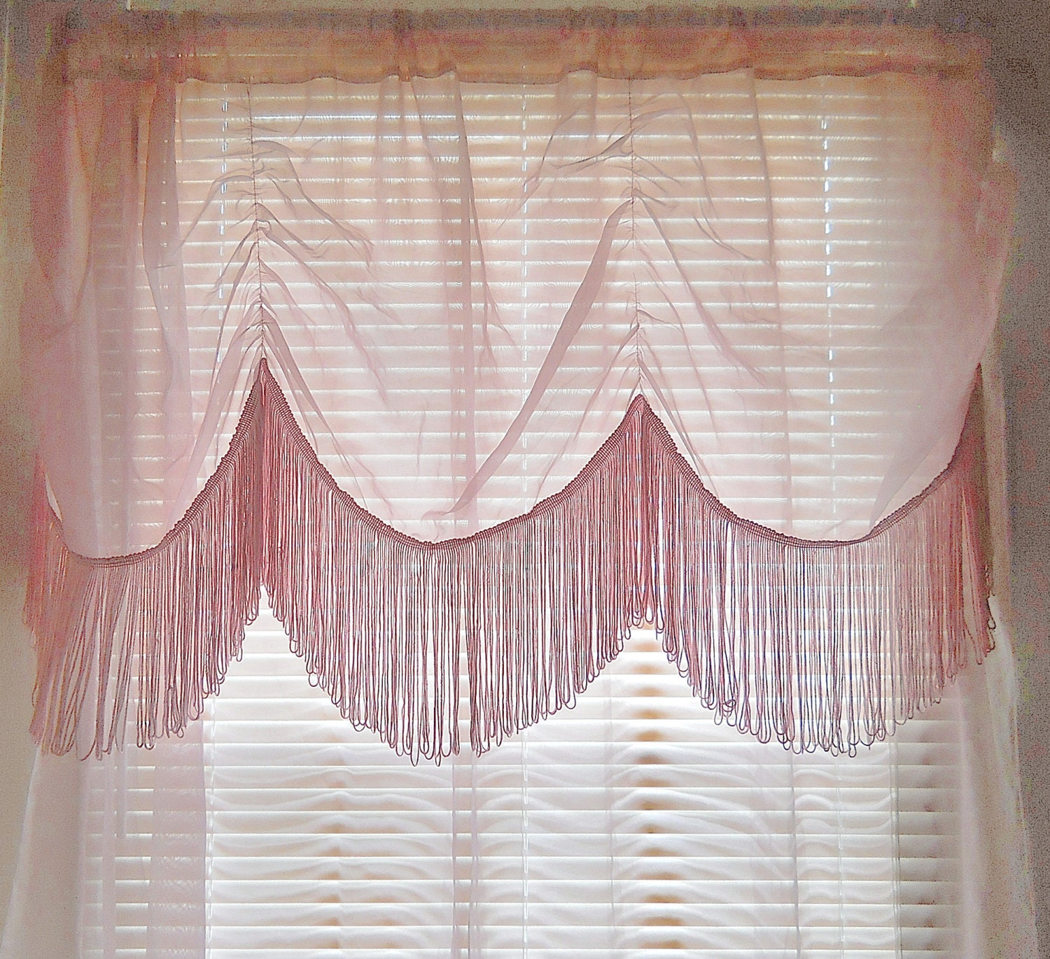 Fringe Curtain Sheer Pink Curtain Boho By Thewelldressedwindow