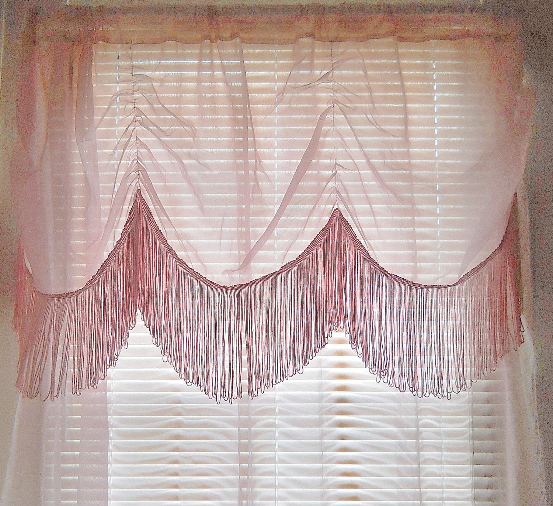 Fringe Curtain Sheer Pink Curtain Boho Curtain Bohemian