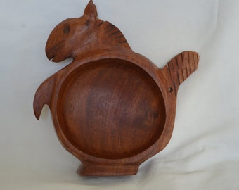 Vintage Wooden Carved Squirrel Bowl