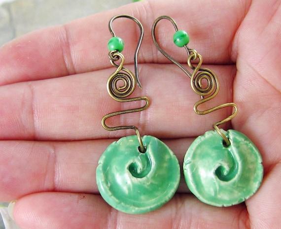Ceramic Spiral Earrings Rustic Green Wirework Handmade Brass Ear Wires