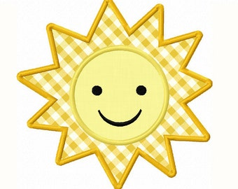 Instant Download Summer Sun Applique Machine Embroidery Design NO:1348