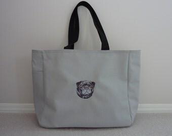 Pug (black) embroidered tote bag