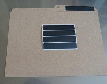 "Chalkboard File Folder Organizer Labels, Shelf Labels, Set of 8,   Reusable, PVC Free,   4"" x 3/4"""