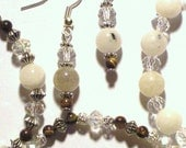 Handmade White Jade and Tigers Eye Beaded Bracelet Trio and Earring Set