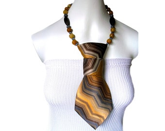Necktie necklace BOSS LADY Vintage polyester ladies necktie feminine necktie modern necktie women's necktie fashion accessory