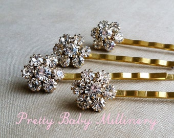 Gold hairpin, gold Bridal Rhinestone Flower Hairpins 4 pc, gold hair pin, gold hair clip hairclip rhinestone crystal bobby pin clear GOLD