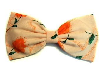 Orange & Peach Summertime Floral Hair Bow