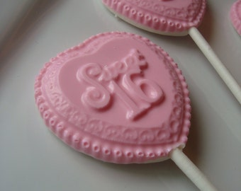 """12 Vanilla Pink white chocolate heart """"Sweet 16"""" Lollipops Birthday Party Favors Candy Sixteen Dessert Table"""