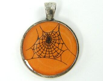 Spiderweb Pendant, Halloween Pendant, Orange Black Jewelry Charm