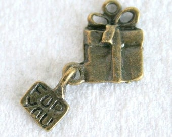 """8 Antique Bronze Gift With """"For You"""" Tag Charms/Pendants"""