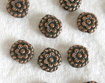 Antique Copper Ornate Flower Disc Spacer Beads