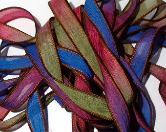 "Brilliance  42"" hand dyed wrist wrap bracelet silk ribbon//Yoga wrist wrap bracelet ribbons//Silk wrist wrap ribbon// By Color Kissed Silk"