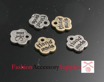 10pcs-8mm Antiqued Bronze,Silver Brass Hand made Tags charms,Pendants(A498)