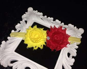 Babies Yellow and Red Head Band Hair Bow Shabby Chic Rose Vintage Birthdays Photo Props Parties