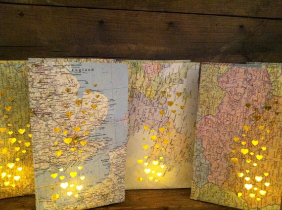 Map luminary bags 10 travel theme decor made to order for International party decor