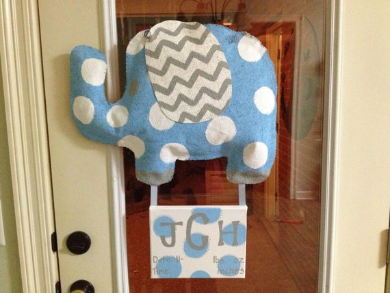 Items Similar To Burlap Elephant And Canvas Baby Door Hanger On Etsy