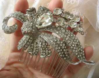 Nature romantic Victorian rhinestones crystals wedding bridal hair comb, rhinestones hair comb, crystals hair comb, engaged prom statement