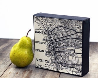 Vintage Map Santa Monica - Venice on 6x6 Canvas