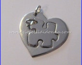 "Puzzle Heart Pendant , shiny, bright, polished HER / HIM couple 925 Puzzle ""heart puzzle"""