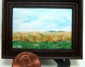 Miniature 1:12 Scale Handmade Original Oil Painting for Collectors / Dollhouse Artwork / Fridge Magnet / Fine Art / Illinois Wheat Field