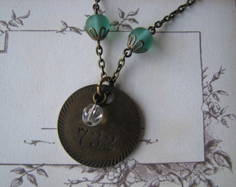 Antique Brass Watch Tag Necklace Altered Steampunk Assemblage Repurposed Upcycled
