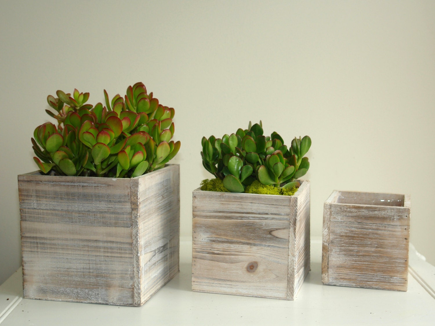 Wood box succulent planter pot vases wooden boxes rustic - Wooden containers for flowers ...