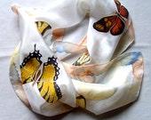 Hand Painted 100% silk batik scarf butterflies.