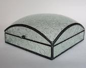 Glass jewelry box - large square dome - cut glass pattern
