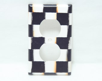 Hand Painted Black and White Check Checkerboard Switchplates, Single, Beth Baker Artist