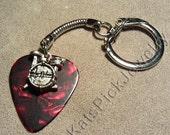 Drums on Red Pearl Guitar Pick w/ Snake Chain Keyring/Keychain