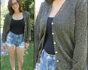 Festive Holiday Sweater Gold and Black Shiny Cardigan with Decorative Buttons and Shoulder Pads