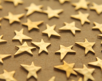 18 pc. Tiny Raw Brass Asymmetrical Hammered Stars: 8mm by 6.5mm - made in USA | RB-211