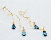 London Blue Topaz Gold Filled Twist Earrings, 14kt Gold Earrings, Gold Swirl Chandelier, Statement Earrings, Inv177