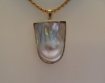 Magnificent Custom Blister Pearl Pendant 14K Yellow Gold