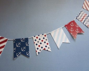 Nautical / Red White and Blue / Mini Banner / Bunting