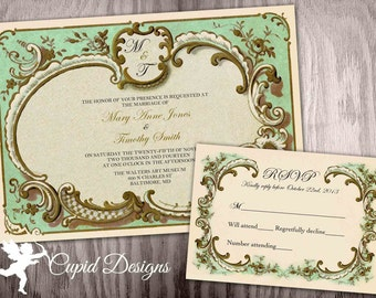 vintage wedding invitations royal wedding invite green and gold elegant wedding invites