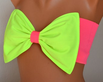 BS1126 PADDED ..Neon green and pink bow bandeau with removable neck strap-Swimsuit-Swimwear-Bathing suit-Bikini top-Brazilian-XS-S-M-L-XL