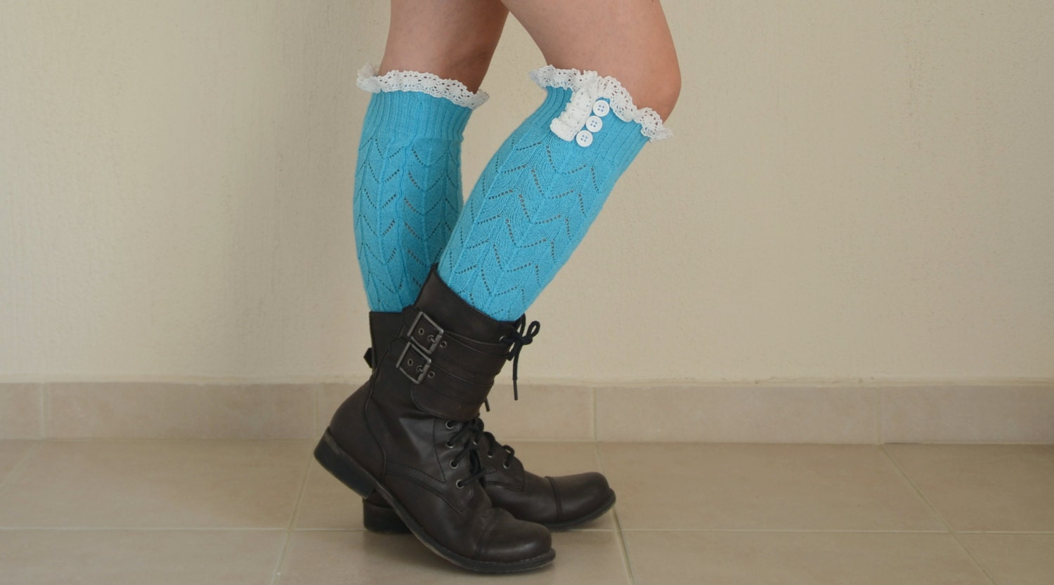 BS5353 Turquoise Knit Lace Leg Warmers Knit Lace High By Bstyle