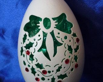 Carved Goose Egg: Wreath