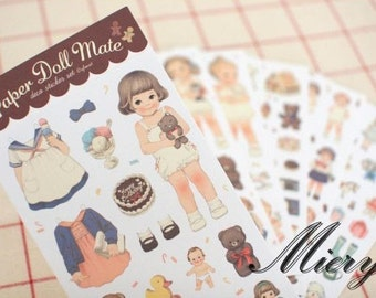 Paper Doll Mate Sticker Set - Deco Sticker - Diary Sticker - 6 sheets in