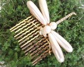 Vintage Pearl Dragonfly Brooch or Hair comb