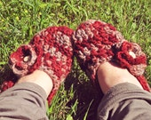 Cozy wool slippers - crocheted red, grey, painted wood buttons, very warm.