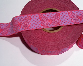 "Pink BUTTERFLIES on Purple Jacquard Ribbon - 1.5"""