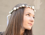 Bridal Halo, Whimsical crown, Flower Crown, Wedding Tiara, Prom, Bridal Hair Accessories,Headpiece, Silver  Berries, White Roses and Pearls