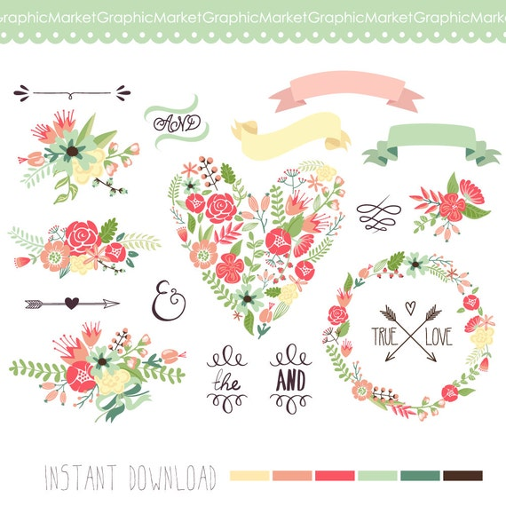 Clipart Flowers Wedding Invitation Clipart Flowers: Items Similar To Wedding Floral Clipart, Digital Wreath