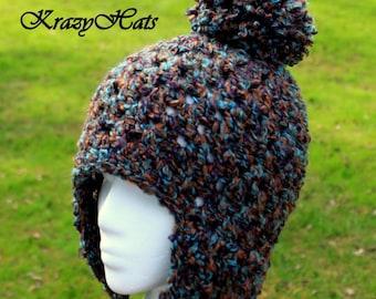 Crochet Chunky hat with Pom Pom.