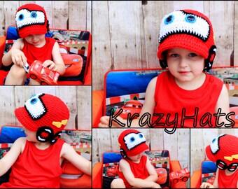 Crochet red racing car hat.Crochet red car hat.